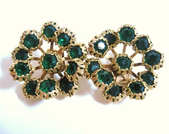 DECO REVIVAL Vintage 1960s Jeweled Emerald Green RHINESTONE Floral Gold Plate Brass Shoe Clips Old  Hollywood Statement Fashion Accessories