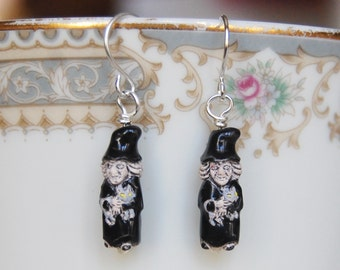Witch Earrings , Halloween Earrings , Kids Earrings , Ceramic Bead Earrings