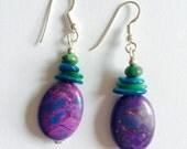 Purple Turquoise earrings, Kingman Turquoise earrings, Purple Earrings, Turquoise earrings, Mohave Purple earrings, genuine turquoise