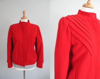 Vtg 90s Red Wool Bomber Jacket      MeDiuM   