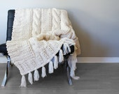 "DIY Knitting PATTERN - Triple Cable Throw Blanket / Rug 49"" x 64"" (2015014)"