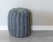 "DIY Crochet PATTERN - Crochet Cable Footstool  Size: 13"" diameter x 17"" tall (2015024)"