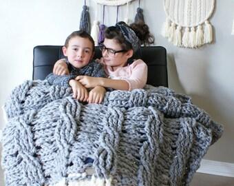 "DIY Crochet PATTERN - Reversible Cable Throw Blanket / Rug 49"" x 72"" (2015022)"