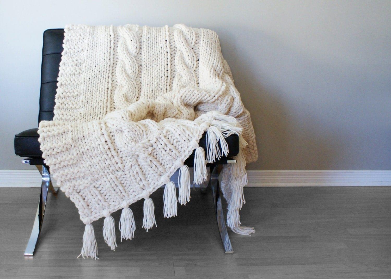 Diy Knitting Pattern Triple Cable Throw Blanket Rug