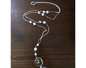 Moonstone Faerie Necklace - Silver, Quartz Crystal, Crescent Moon, Fairy - The Moonlight Collection