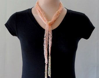 Peach Scarf Peach Knitted Beaded Scarf Skinny Tassel Scarf Beaded Skinny Belt Beaded Skinny Sash Lariat Scarf Skinny Scarf Necklace For Her