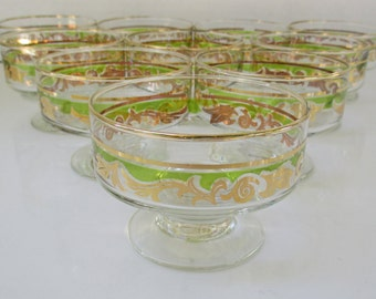 Gold and Green Scroll on Glass Sherbet Cups - Set of 5 (2 Sets Available)