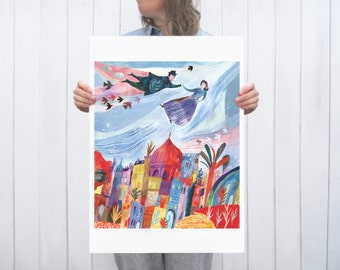 Illustrated art print Above the Old Town A2 large format Giclee fine art print (16.54 in x 23.4in)