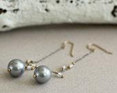 Long Gray Pearl Earrings-...