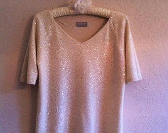 Vintage Cream Colored Sweater With Iridescent Sequins By Liz Claiborne