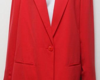 """90's Vintage """"SAG HARBOR"""" Red Wool Boyfriend Blazer Sz: 14 (Large)"""