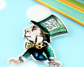 Mad Hatter Brooch. Alice Brooch. Alice in Wonderland. Literary Jewellery. Mad Hatter Jewellery. Book Lover. Book Worm. Tea Party. Badge Pin
