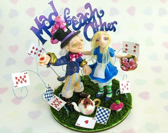 Alice in Wonderland Wedding Cake Topper - Alternative Decoration featuring the Mad Hatter, Cheshire Cat, Dormouse and Caterpillar