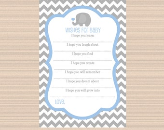 Wishes for Baby, Elephant Baby Shower, Grey, Light Blue, Chevron A041