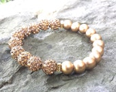 Womens Handcrafted Gold WOOD & Gold Pave Rhinestone Shamballa Ball Bead Stack Boho Layer Trend Chic Stretch BRACELET Jewelry Fashion Gift