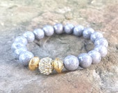 Womens 10mm Gray Agate Gemstone Gold Pave Rhinestone Accent Bead Stack Boho Chic Stretch BRACELET Jewelry Fashion Bling Fall Style Trend