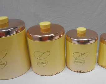 yellow kitchen storage jars yellow cannisters etsy 1694