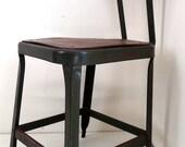 Vintage Industrial Factory Stool Chair Steel Metal Green Machine Age F2