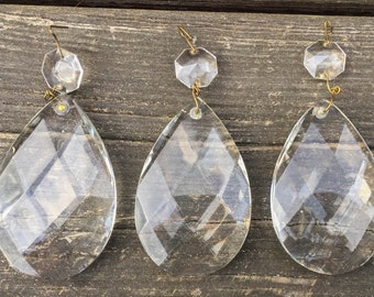 """Set of 3 Large Vintage 3"""" Chandelier Faceted Teardrop Prisms Salvage Parts Craft Supplies Jewelry"""