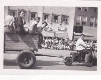 Antique Snapshot Photo of a Wagon Full of Smoking Boys Being Pulled in a Parade