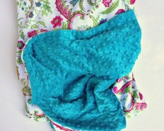 Toddler Girl Blanket, Pink Minky Girl Blanket,Green Girl Baby Gift, Pink Flower Blanket, Lap Blanket Toddler Girl Blanket,Size 40 x 50