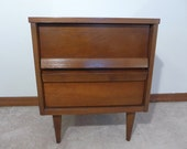Two Drawer Walnut Night Stand on Legs with Formica Top Mid Century Modern Bedroom Furniture Nightstand Side Table