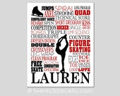 Figure Skating Typography Canvas or Art Print, Girl's Room Art, Choose Any Colors, Personalized for Ice Skater, Figure Skater Canvas