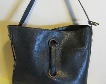 Gorgeous big DELVAUX, vintage, original , blue leather shoulder bag, Brussels, Belgium