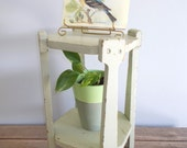 Primitive Chippy Green Painted Two Tier Wood Plant Stand