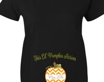 Pumpkin Halloween Maternity Shirts, This Lil Pumpkin Chevron Maternity Shirts for Halloween In Black