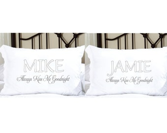 Personalized Pillowcases with His and Hers Names