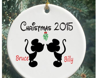 Personalized Christmas Ornaments  Gay Couple with Mistletoe