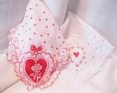 Pair of Vintage Valentine Handkerchiefs