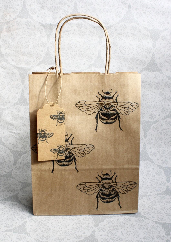 Bumble bee gift bag set medium kraft with matching