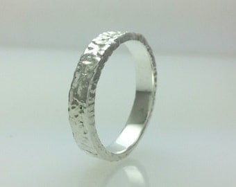 Sterling Silver 4mm Flat Wedding Band 925,Distressed Bark,His or Her Wedding Ring,Handmade,All Sizes One Price