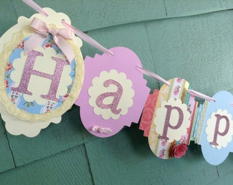 Shabby Chic Birthday Banner lace pearls rose vintage style