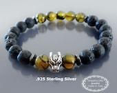 Dragon bracelet Men bracelet Black lava, Sterling silver dragon head & dragon veins agate Mala bracelet Mens spiritual bracelet Gift for him