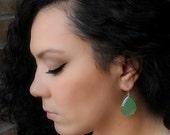 VALENTINE Sale Large Green Silver Drop Earrings, Mint Green Bezel Dangle, Light Green Chalcedony Gemstone, Sterling Silver, Sage Green
