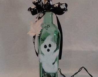 Halloween Hand Painted Lighted Bottle Ghost Bottle of Boos