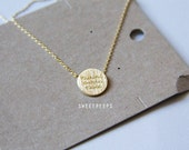 Thankful Grateful Blessed Tiny Gold Plated Pendant Necklace