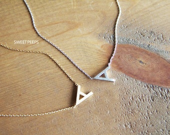Letter A Tiny Gold Plated Pendant Necklace