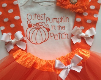 Baby Toddler Girl Fall Outfit - Toddler Girl Halloween outfit -  Personalized baby outfit  - baby halloween Pumpkin Patch outfit