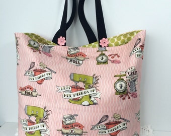 Mix Things Up Market Diva Tote Bag - Cotton Tote - Shopping Bag - Farmer's Market Bag - Cotton Grocery Bag