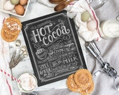 Hot Cocoa Sign - Hot Cocoa Bar - Chalk Art - Chalkboard Christmas Decor - Recipe Illustration - Chalkboard Art - Holiday Decor