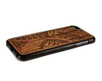 iPod Touch Case Wood Tribal Design Engraved, Wood iPod Touch 6 Case, iPod Touch 5 Wood Case
