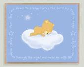 Children's Art Baby Bear Asleep On Cloud With Sweet Bedtime Prayer Art Plaque Baby Toddler Gift Nursery Playroom Decor Shower Gift