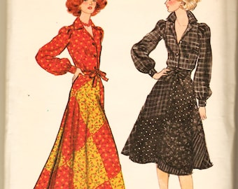 70's Vogue Pattern 9415 Hippie Maxi Wrap Circle Skirt w Blouse Sz 14 Uncut FF Boho Era Sewing Patterns Supplies