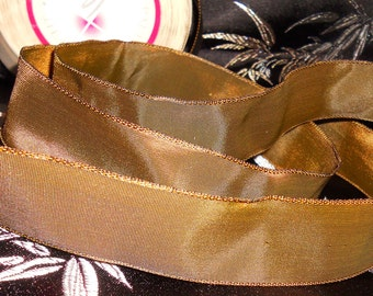 "Shimmering Lustrous Bronze Imported French Satin WIRED Ribbon 1.125"" Wide Sold by the Yard Sewing Notions Craft Supplies Wedding Supplies"