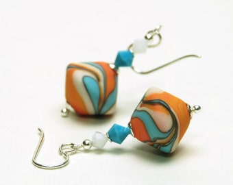 Coral and Turquoise Artisan Lampwork Glass Earrings with Sterling Silver Earwires
