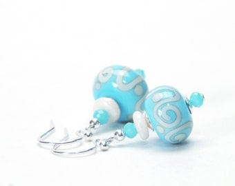Sky Blue Aqua and Ivory Lampwork Glass Earrings with Sterling Silver Earwires